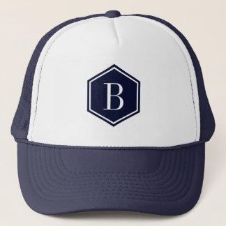 Dark-Blue Geometric octagon Monogram Trucker Hat