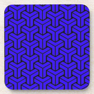 Dark Blue Geometric Pattern Drink Coasters