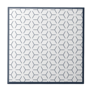 Dark Blue Geometric Pattern Tile