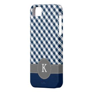 Dark Blue Gingham Pattern Custom Monogram Case For The iPhone 5