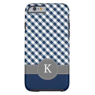 Dark Blue Gingham Pattern Custom Monogram Tough iPhone 6 Case