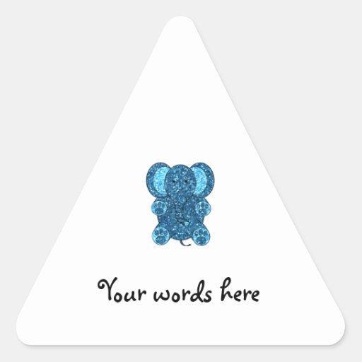 Dark blue glitter elephant triangle stickers