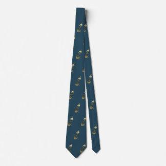 Dark Blue Gold Cello Pattern Music Musician Tie