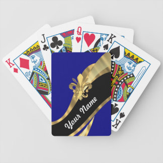 Dark blue & gold fleur de lys bicycle playing cards