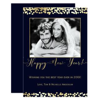 Dark Blue & Gold Happy New Year Modern Photo Card