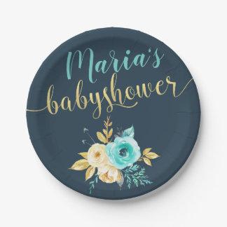 Dark Blue Gold Teal Floral Baby Boy Shower Paper Plate