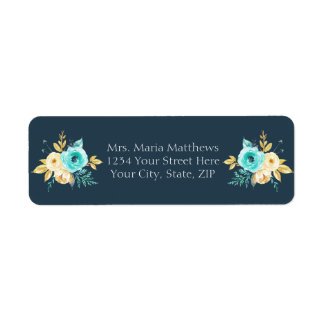 Dark Blue Gold Teal Floral Boy Baby Shower