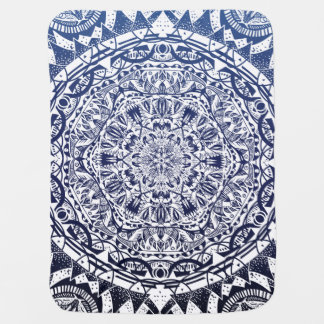 Dark Blue Gradient Mandala Pattern Baby Blanket