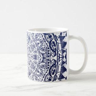 Dark Blue Gradient Mandala Pattern Coffee Mug