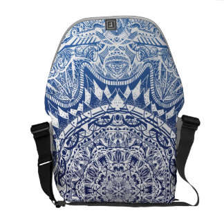 Dark Blue Gradient Mandala Pattern Commuter Bag