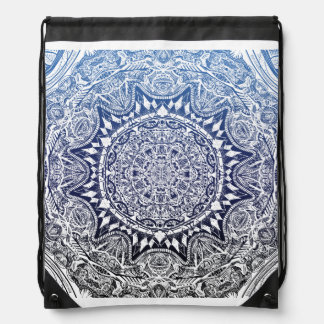 Dark Blue Gradient Mandala Pattern Drawstring Bag