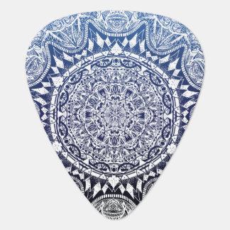 Dark Blue Gradient Mandala Pattern Guitar Pick