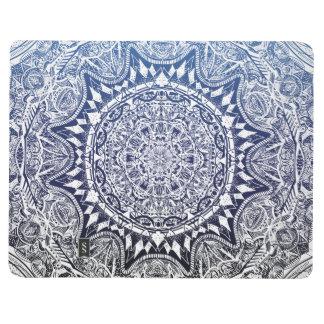 Dark Blue Gradient Mandala Pattern Journal
