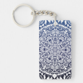 Dark Blue Gradient Mandala Pattern Keychain