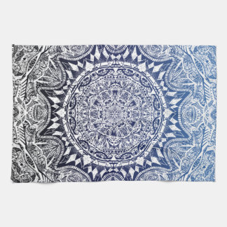 Dark Blue Gradient Mandala Pattern Kitchen Towel