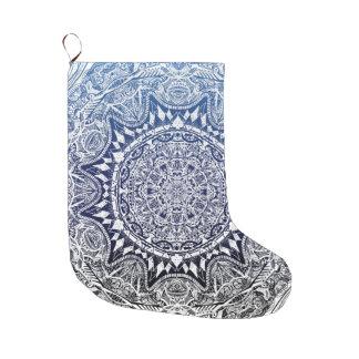 Dark Blue Gradient Mandala Pattern Large Christmas Stocking
