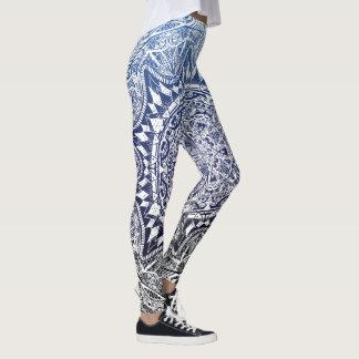 Dark Blue Gradient Mandala Pattern Leggings
