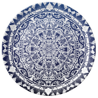 Dark Blue Gradient Mandala Pattern Plate