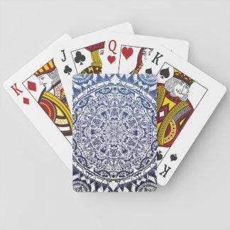 Dark Blue Gradient Mandala Pattern Playing Cards