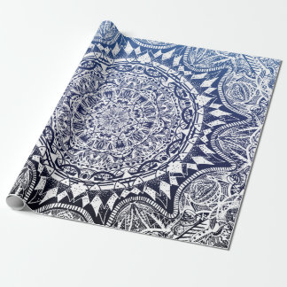 Dark Blue Gradient Mandala Pattern Wrapping Paper