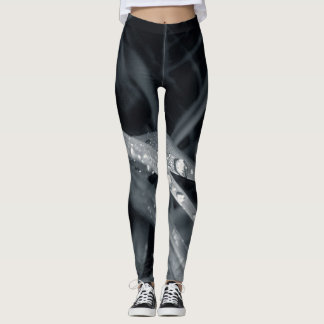 Dark blue grass and dew drop pattern leggings