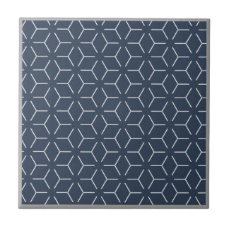 Dark Blue Gray Border White Geometric Pattern Tile