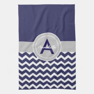 Dark Blue Gray Chevron Hand Towel