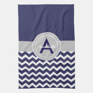 Dark Blue Gray Chevron Kitchen Towel