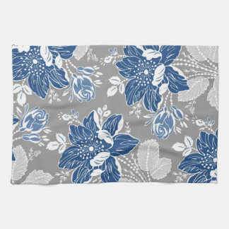 Dark Blue Gray Floral Kitchen Cloth Towel