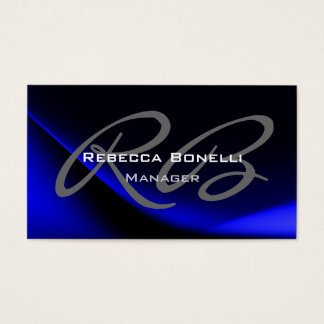 Dark Blue Gray Monogram Manager Business Card