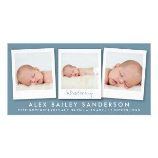 Dark Blue Gray New Baby Announcement with 3 Photos Picture Card
