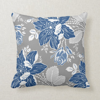 Dark Blue Gray White Floral Decorative Pillow