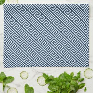 Dark Blue Greek Key Pattern Kitchen Towel