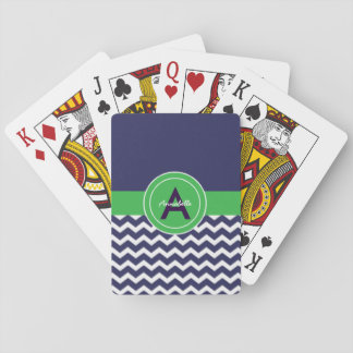Dark Blue Green Chevron Playing Cards