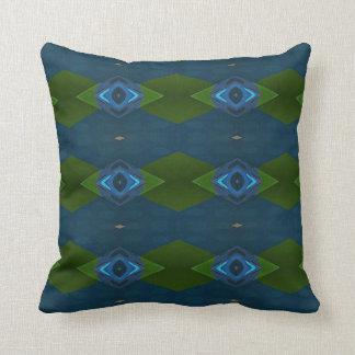 Dark Blue Green Classic Diamond Shapes Throw Pillow