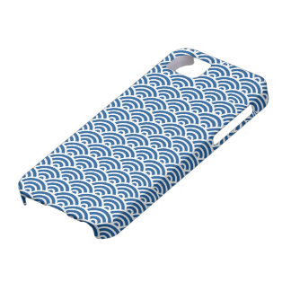 Dark blue Japaneese abstract wave pattern case