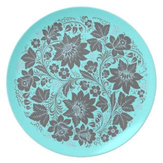 Dark Blue Khokhloma on Blue Party Plates