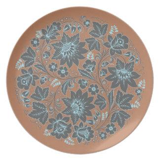 Dark Blue Khokhloma on Brown Party Plates
