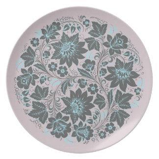Dark Blue Khokhloma on Lavender Dinner Plate