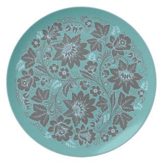 Dark Blue Khokhloma on Teal Dinner Plate