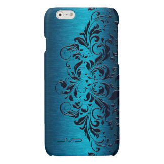 Dark Blue Lace & Turquoise Metallic Background