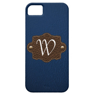 Dark Blue Leather Look monogrammed iPhone 5 iPhone 5 Cases