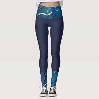 Dark Blue Leggings with Blue Abstract Boarder