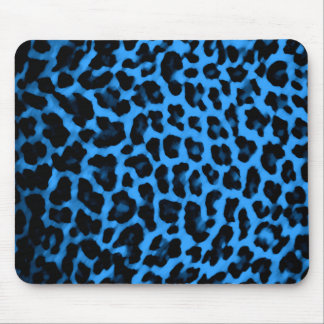 Dark Blue Leopard Print Mouse Pad