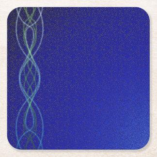 Dark Blue Lights Square Paper Coaster