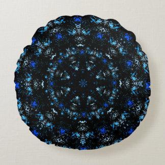 Dark Blue Mandala Round Pillow