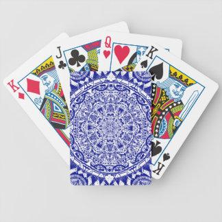 Dark Blue Mehndi Mandala Bicycle Playing Cards