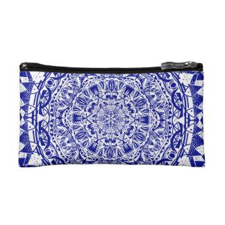Dark Blue Mehndi Mandala Cosmetic Bag