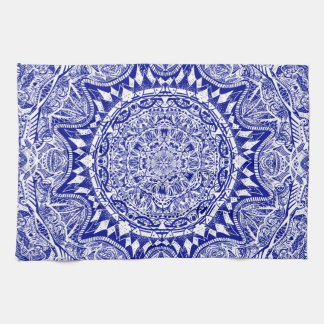 Dark Blue Mehndi Mandala Kitchen Towel