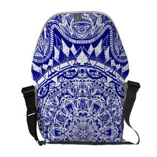 Dark Blue Mehndi Mandala Messenger Bags